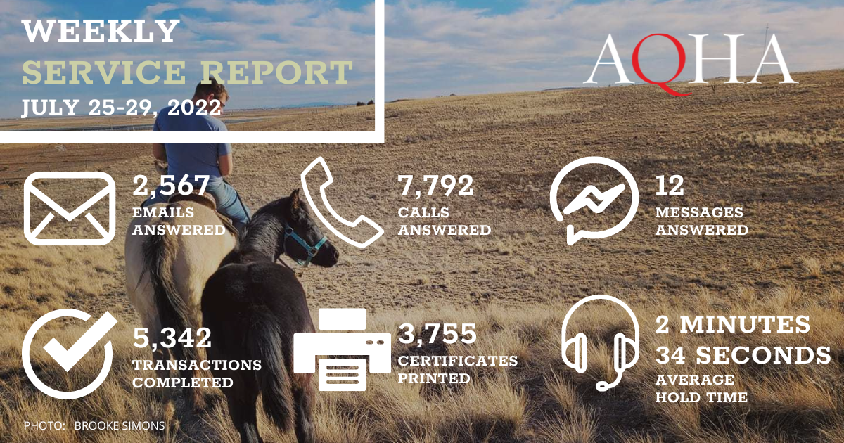 A yearling foal is the background for this graphic. AQHA Weekly Service Report for April 26-30, 2021: 2,769 emails answered 7,926 calls answered 22 messages answered 6,128 transactions completed 4,211 certificates printed 2 minutes 5 seconds average hold time
