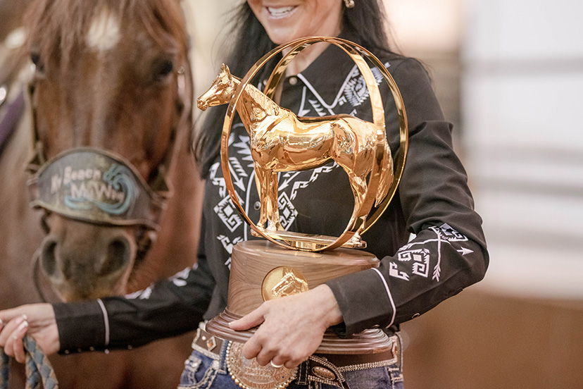 AQHA world show gold globe trophy