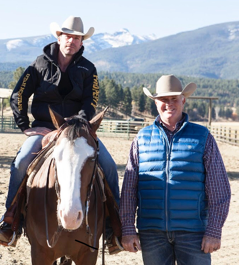 "Yellowstone"" writer, director and producer Taylor Sheridan sits aboard Pale Black Gun next to his reining trainer, Tom Foran"