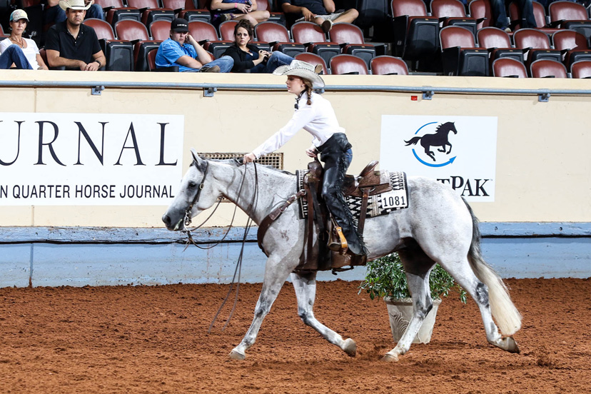 Ann Elizabeth Tebows win the 2016 AQHA youth ranch riding world championship on her gray horse FS Vintage Sidekick