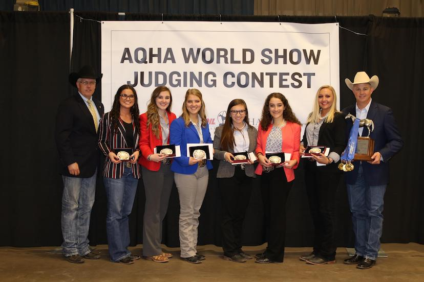 2018 AQHA World Show Judging Contest senior college champions Oklahoma State University (Credit: Journal)