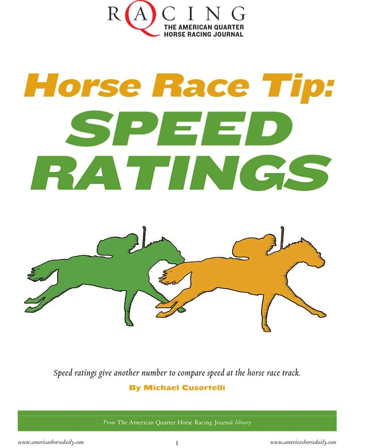 Horse Race Tip: Speed Ratings - AQHA